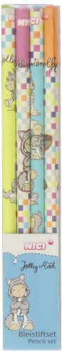 NICI – Set de 4 Crayons Jolly Logan, 4 Motifs en Display (35131)