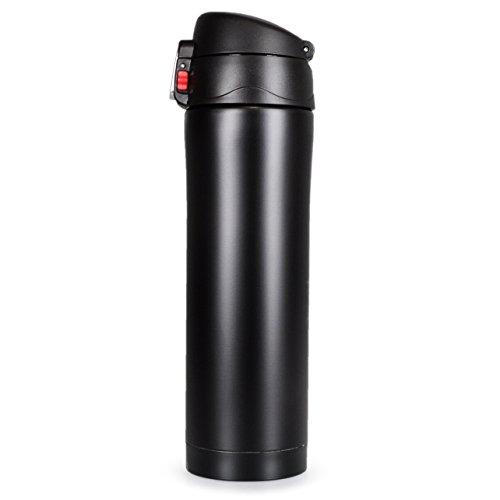 YOUZiNGS Thermos-Kanne mit Dreh-Verschluss, doppelwandige Edelstahl Isolier-Kanne für unterwegs, 400ml Inhalt, Tee-Kanne, Kaffeekanne, Thermosflasche, Kaffee-Becher, Farbe matt schwarz, Marke