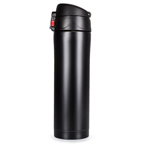 Thermoskan met draaisluiting, dubbelwandige roestvrijstalen thermoskan voor onderweg, 400 ml inhoud, theekan, koffiekan, thermosfles, koffiebeker, kleur mat zwart, merk YouZiNGS