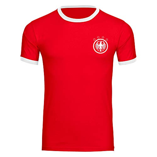 T-Shirt Deutschland Adler Retro Trikot Herren rot/weiß Gr. S - 3XL - Fanshirt Fanartikel Fanshop Trikot Fußball EM WM Germany,Größe:XXXL,Farbe:rot/weiß