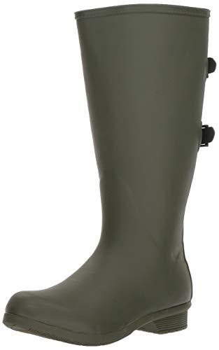 Chooka Women's Wide Calf Memory Foam Rain Boot, Moss, 9 M US