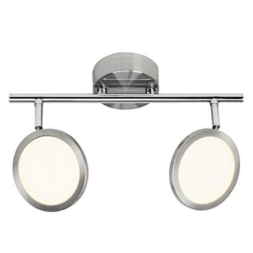 Brilliant Pluto LED Spotrohr 2 flg Deckenstrahler schwenkbar eisen/weiß 1000 Lumen, LED integriert