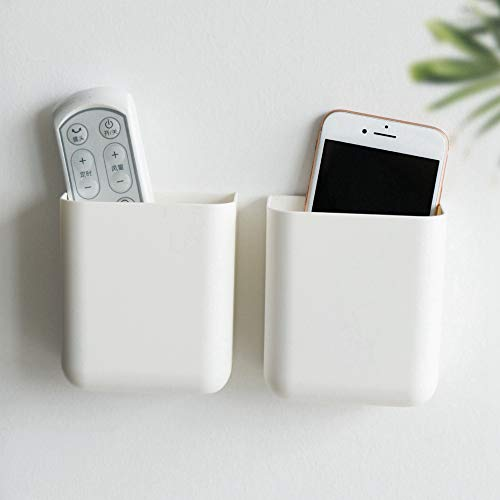 Remote Holders Wall Mount Hole Free, Self-Adhesive Storage Box, Pen Holder (2 Pack)