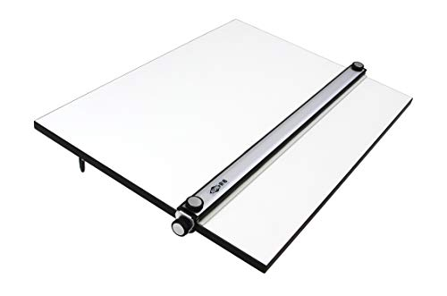 Zeichenplatte A2/A2+, professionelles Zeichenbrett mit Parallel-Zeichenschiene, Stabiler Kunststoff, transportable Arbeitsfläche (A1 +, 24 x 36 inch)