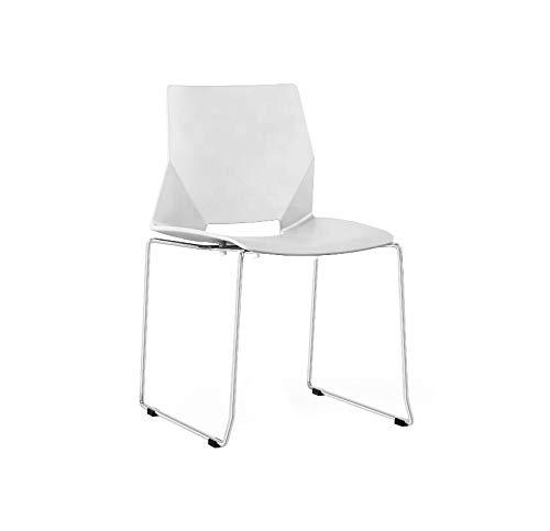 ZOLTA Modern Stuhl Retro-Stil Eiffel Kunststoff Stuhl Esszimmer Büro Skandinavisch Design Küchenstühle (Weiß, 1)