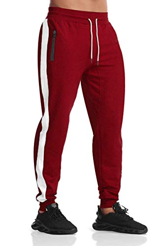 Men's Gym Workout Stripe Jogger Pants Slim Fit Tapered Sweatpants Running Track Pants with Zipper Pockets Red L