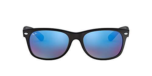 Ray-Ban Unisex New Wayfarer Sonnenbrille, Matte Black Flash, Large (Herstellergröße: 55)