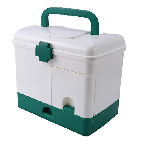 Senmubery Caja de BotiquíN de Primeros Auxilios Caja de Almacenamiento de Medicina Caja de Organizador de RecoleccióN de Drogas de PláStico MéDica Contenedor de Almacenamiento