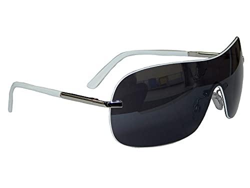 Sonnenbrille Pilotenbrille Brille Pornobrille Damen Herren mit Flexbügel Auswahl M 8 (Silber Weiß Grau)