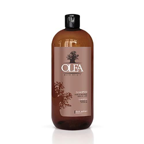 OLEA Champú sin silicona, sulfatos y parabenos, con aceite de baobab y semillas de linaza (1000 ml) champú reparador antiencrespamiento