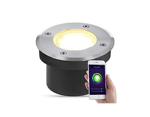lambado® Flacher LED Bodeneinbaustrahler für Aussen mit RGB Farbwechsel dimmbar - Alexa & Google Home steuerbar per App - Bodenleuchte/Bodenstrahler IP67 aus Edelstahl - Befahrbar & Wasserdicht