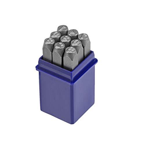 """Sourcing Map Metallstempel-Set, digital 0 bis 9, Zahlen Stanz-Set Holz Leder Stahl Stanzwerkzeuge Leder Handwerk Stempel Blau 3/16"""" 5mm"""