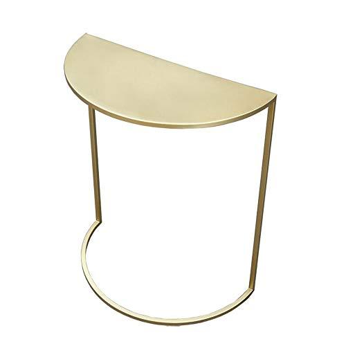 Jcnfa-Tische Metall/Marmor Sofa Beistelltisch, Gegen Den Wandtisch, Halbrunder Beistelltisch Aus Gold, Mobiler Snack-Tisch Beistelltisch for Kleine Räume, 2 Farben