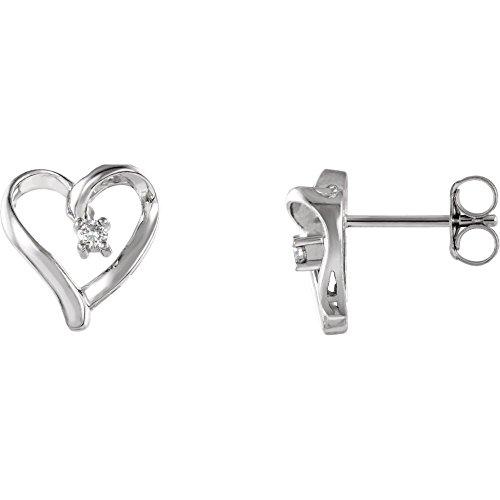 FB Jewels 14k White Gold Pair .04 Ct Tw Polished Diamond Heart Earring (0.04 Ct Tw Diamond)