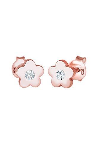 Elli Boucles d'Oreilles Fleur d'enfant rose en cristal plaqué or en argent 925
