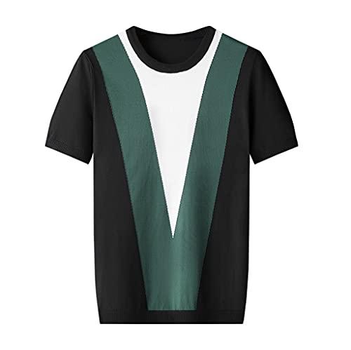 SKREOJF Kurzärmeliges T-Shirt Herren Sommer Dünne Abschnitt Kontrastfarbe Rundhalsausschnitt Botting Shirt Lose (Color : A, Size : XXXL code)