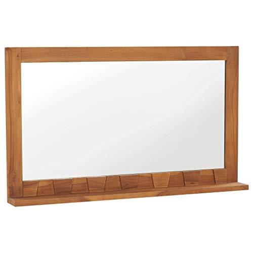 vidaXL Teak Massiv Wandspiegel mit Regal Ablage Kolonialstil Rustikal Badspiegel Badezimmer Spiegel Badmöbel Badezimmerspiegel 100×12×60cm