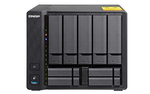 Qnap TS-963X-2G - Bay NAS de sobremesa con 2 GB de RAM (Cuatro núcleos 2.0 GHz, 9 bahías para Unidades) Color Negro