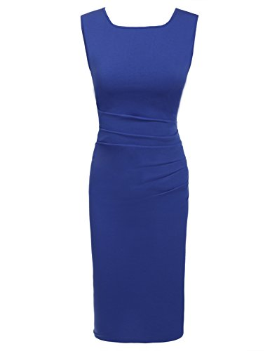 Parabler Damen Rundhalsausschnitt Wickelkleid Bleistiftkleid Etuikleid Ärmellos Knielang Abendkleid Business Kleid (A Blau, Large)