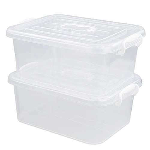 Minekkyes Clear Latching Storage Bin Plastic Storage Containers 2 Pack