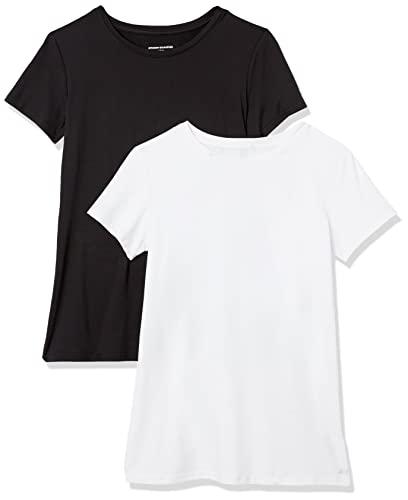 Amazon Essentials 2-Pack Tech Stretch Short-Sleeve Crew T-Shirt Athletic-Shirts, Negro/Blanco, Medium