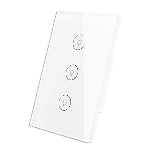 Interruptor WiFi Inteligente de Luz de Pared Táctil con Panel de Vidrio Control Remoto Inalámbrico por…