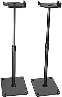 "PERLESMITH Universal Speaker Stands Height Adjustable Extend 18"" to 43"" Holds Satellite & Bookshelf Speakers (ie. Bose Polk Samsung Sony JBL PA DJ Klipsch) up to 11lbs-1 Pair PSSS2 Black"