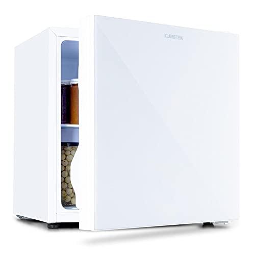 Klarstein Luminance Frost - Mininevera, Cajón para verdura, 2 baldas de vidrio, 3 compartimentos en la puerta, Eficiencia de tipo F, Temperatura ajustable, Volumen 45 litros, 48 x 50 x 44,5 cm, Blanco