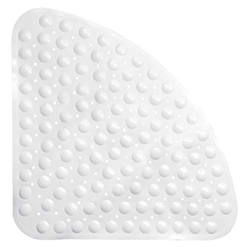 Antirutschmatte mit Saugnapf Viertelkreis Anti Rutsch Matte Badewannenmatten Badematte Eckduschmatte Fächerförmig Duschmatte Badewannenmatte mit Ablaufloch für Badewanne Eck PVC-Duschmatte Weiß