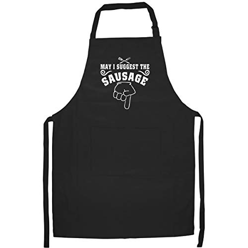 May I Suggest The Sausage Funny Kitchen Apron With Two Large Pockets - Best Gift for Dad, Mom, Husband, Wife, Friend, Grandpa, Grandma