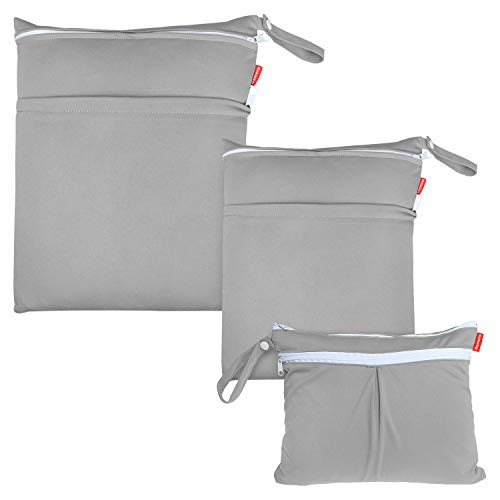 Damero 3pcs Pack Wet Dry Bag for Cloth Diapers Daycare Organizer Bag, Gray