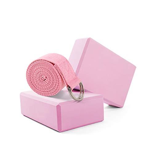 2 bloques de yoga y anillo D de yoga cinturón de espuma EVA de 22 x 15,7 x 7,5 cm y 2,5 m correa de resistencia de yoga para apoyar y profundizar las posturas, ideal para yoga, pilates, entrenamiento, gimnasio, A