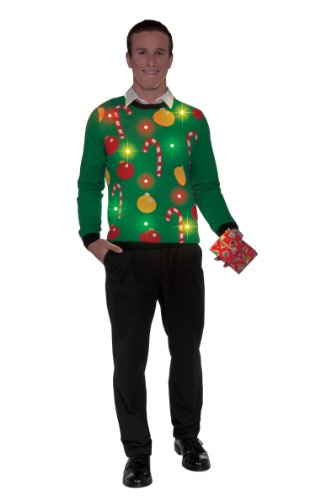 Forum Novelties Adult Tis The Season Light-Up Ugly Christmas Sweater, Multi, Medium