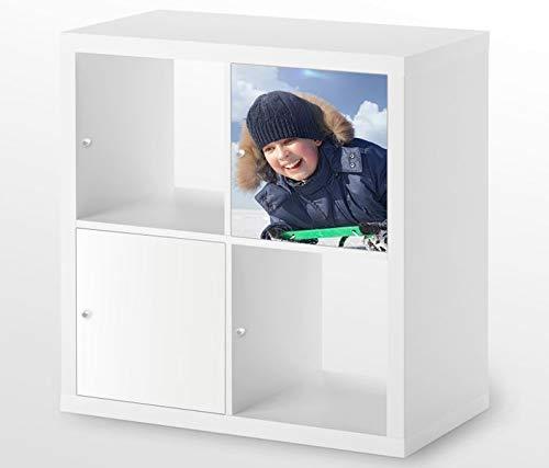 Möbelaufkleber für Ikea KALLAX / 1x Türelement Schnee Sport Schlitten Kat8 Fahrt Aufkleber Möbelfolie sticker (Ohne Möbel) Folie 25D385