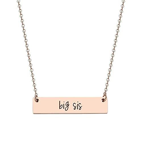 JJTZX Sister Bar Necklace Set Lil Sis & Big Sis Hand Stamped Bar Necklace New Big Sister Gift