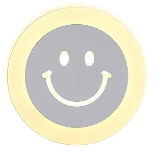 LED Applique Murale Lampe pour Enfants Lampe Moderne Smiley Face Design Lampe Murale Lampe de Chevet Creative Acrylique Intérieur Décorative Fille Chambre Cuisine Couloir Lumière Chaude 13W