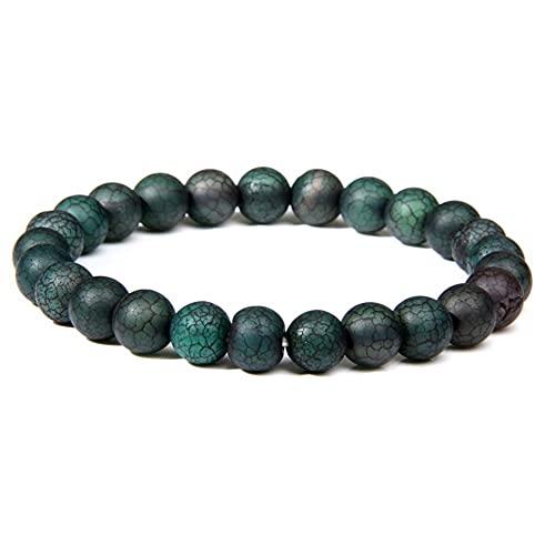 DALIANMAO Pulseras para Hombres Mujeres Natural Tiger Ojo Pulsera Elástica Yoga Gemstones Curación Energía Pulsera Estirar (Length : 19cm, Metal Color : Dragon Agate)