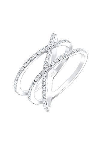 Elli Ring Damen Statement Wickelring mit Swarovski Kristallen in 925 Sterling Silber