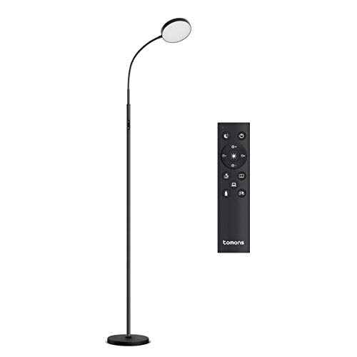Tomons LED Floor Lamp Dimmable, Remote Standing Light Reading Lamp, Stepless Dimming&Color Temperature Control, 12W, for Living Room, Bedroom, Office, Frosted Black