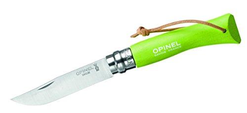 Opinel Couteau N°7, Acier Sandvik Inoxydable 12C27, Manche Vert en Bois de hêtre, dragonne en Cuir, système Virobloc