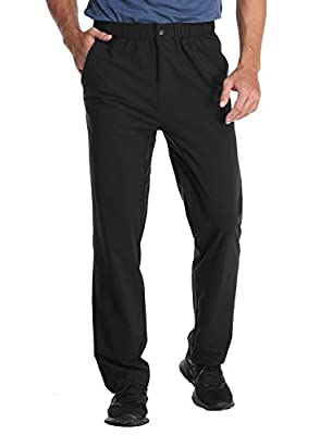 MIER Men's Stretch Hiking Pants Elastic Waist Lightweight Travel Jogger Trousers, Water Resistant, Quick Dry, Black, M