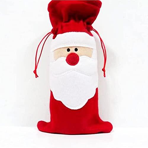 JYHZ Decoraciones De Navidad, Bolso De Botella De Vino De Navidad, Bolso Rojo De Papá Noel, Decoración De La Cena De La Mesa De Navidad, Decoración del Fiesta