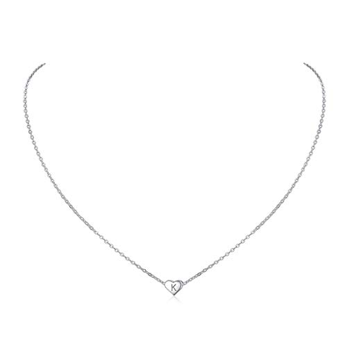 ChicSilver Colgante Corazón Letras Mayúsculas K Collares Hipoalergénicos Plata de Ley 925 para Jovenes Belleza Regalo Bueno para Compromiso