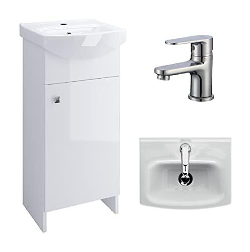 VBChome Badmöbel Weiß 40 cm Armatur Waschbecken mit Unterschrank Waschtisch Waschbeckenunterschrank Unterschrank Zugstange Badezimmerschrank 2 Türen Glanz Waschplatz Stand Standmöbel