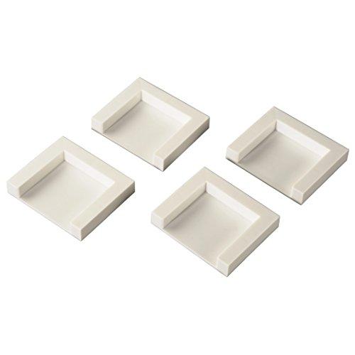 Xavax Trocknerfixierplatten (4er-Set zum Aufkleben, selbstklebende Fixierplatten, 5 x 5 cm, unempfindlich gegen Feuchtigkeit, rutschfest dank Spezialkleber) weiß