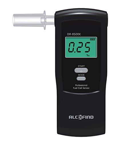 Trendmedic Alkoholtester Alcofind DA-8500E | mobiles digitales Atem-Alkoholmessgerät mit Fuel-Cell-Sensor bis 5.00‰ | polizeigenau | großer interner Speicher für 50 Messwerte