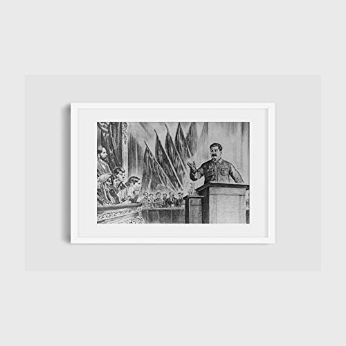 INFINITE PHOTOGRAPHS Photo: Joseph Stalin, 1878-1953, at Podium, Large Audiences, Flags