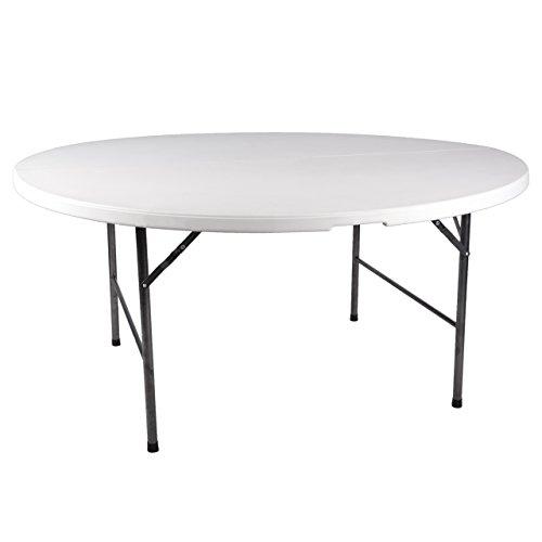 Nexos Partytisch rund 160 x 75 cm klappbar weiß Gartentisch bis 8 Personen 20 kg pflegeleicht robust Klapptisch