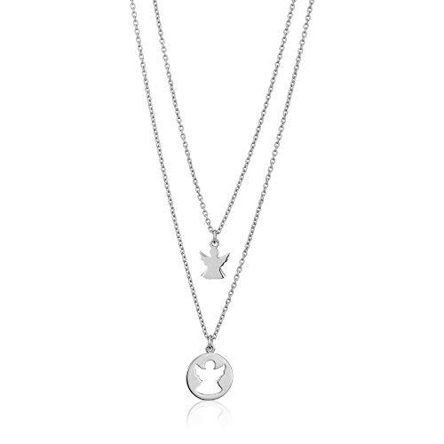 Vanbelle gioielli in argento stering collana con ciondolo a doppio strato con angelo madre e bambino per donne e ragazze