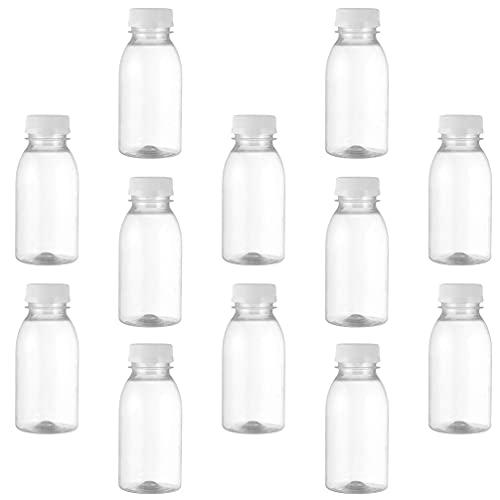 Angoily 12Pcs di Plastica Bottiglia di Succo 250ML Vuota Trasparente Bottiglie per Bevande di Latte Contenitore per L' Acqua Potabile Distributore di Frullato Casa di Viaggio